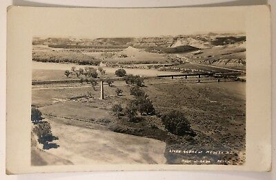 River Scene at Medora ND RPPC AZO Paul W Lebo Photo