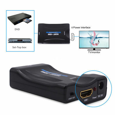 SCART To HDMI 720p 1080p 60Hz HD Video Converter Scaler Box + USB Cable Black