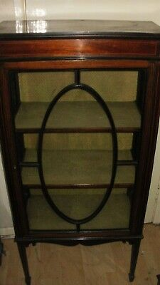mahogany small inlaid edwardian single door china cabinet good original height