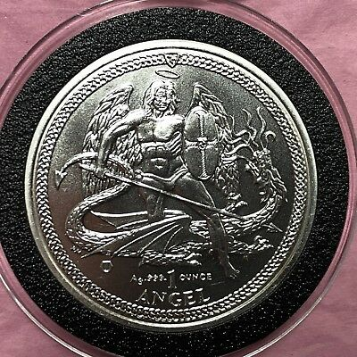 2014 Angle Slaying Dragon Isle Of Man 1 Troy Oz .999 Fine Silver Round Coin 999