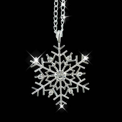 Silver Frozen Snowflake Crystal Necklace Pendant Chain Christmas Gift Charm