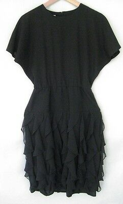 Vintage 1980s Mark Shaw Black Ruffled Skirt Dress S
