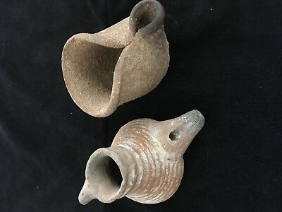 2 Authentic Ancient Clay Oil Lamps Bronze Age   Coa