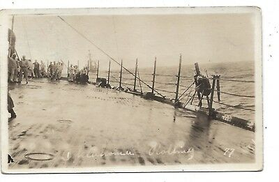 RPPC WW1 sent from the ship, USS Oklahoma Rolling. US Navy Passed by Censors