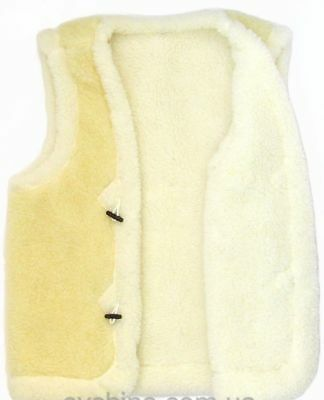 Natural Women's Two-Sided Sheepskin Sheep Wool Vest Jacket Bolero Pure 100%