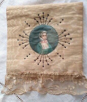 Antique 18th / 19th C Handkerchief Folder, Silk with Sequins and Portrait