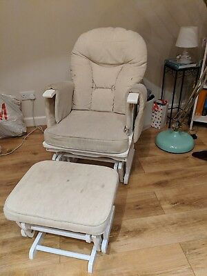Serenity White Nursing Glider rocking chair with footstool maternity & gliding