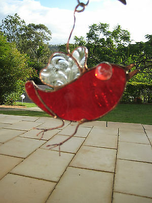 leadlight suncatcher - stained glass - bird - red and clear glass