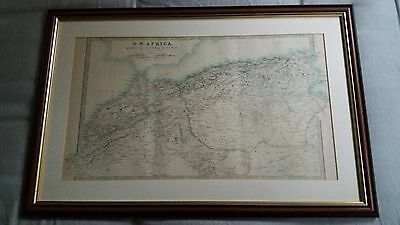 ANTIQUE VINTAGE MAP 1900 North West AFRICA MOROCCO ALGERIA & TUNISIA JOHNSTON