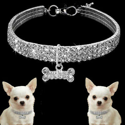 Bling rhinestone dog necklace collar diamante&pendant for pet puppy chihuahua EP
