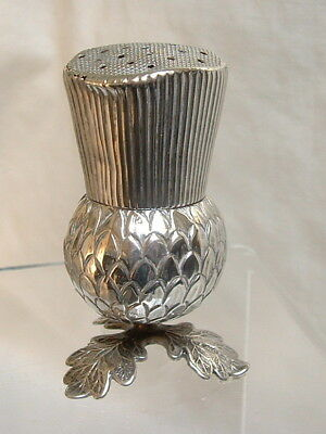 Rare Antique Victorian Solid Silver Thistle Salt or Pepper Pot Shaker