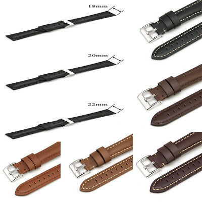 18-22mm Unisex Genuine Leather Watch Band Replacement Band Wrist Watch Strip Hot