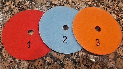 "3 Step Diamond Polishing Pads Wet/Dry 4"" SET KIT Granite Marble Quartz Concrete"