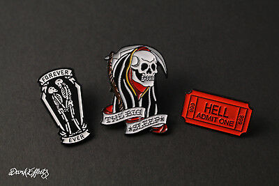 Grim Reaper, Ticket To Hell & Forever Skulls Gothic Enamel Metal Pin Badges Cool