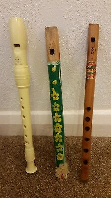 Vintage Joblot Of 3 Musical Recorders/flutes