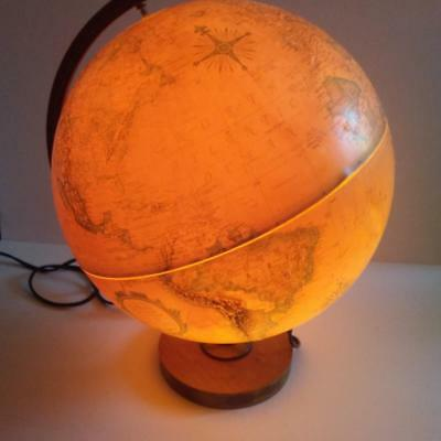 "Topographical Replogle World Premier Globe Lamp Light 12"" Vintage MCM Wood Base"
