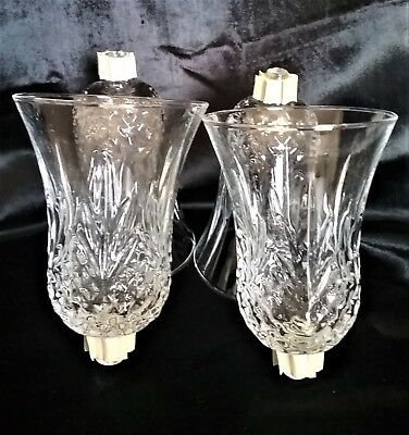 """4 Home Interior Homco Diamond Cathedral Clear Glass Votive Cups 5 1/2"""""""