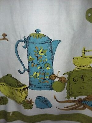 "Vintage Retro Tablecloth Blue, Green 47""×47"" Square"