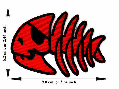 Fish Skull Bone Skeleton Biker Pirate V02 Applique Iron on Patch Free Shipping