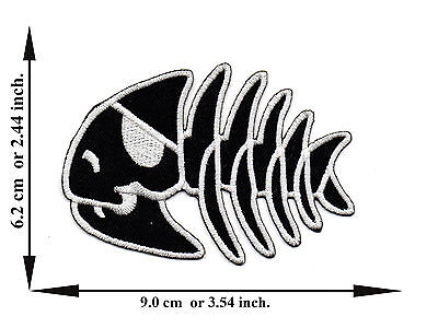 Fish Skull Bone Skeleton Biker Pirate V04 Applique Iron on Patch Free Shipping