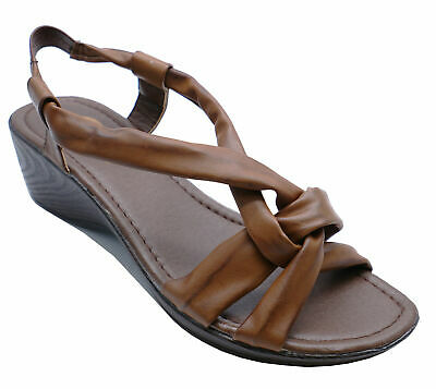 Womens T-Bar Brown Strappy Summer Sandals Comfy Wedges Open-Toe Shoes Uk 3-8