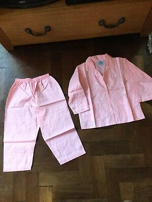 Girls Pink Long Sleeved Cotton Pyjamas  with Embroidered Roses