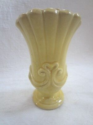 Vintage McCoy Yellow Brush Vase Pottery 7 1/2 Tall  # 543 USA