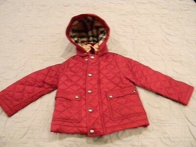 Burberry Children Girls 2T Fritillary Pink Quilted Jacket w Detachable Hood e16ccb7f4e