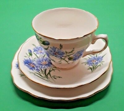 Royal Vale Bone China, Blue Cornflower, cup saucer and side plate trio £5 each.