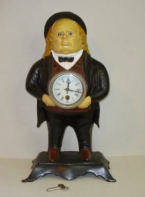 "Bradley & Hubbard ~ ""John Bull"" ~ Cast Iron ~ Moving Eye ~ Novelty Clock"