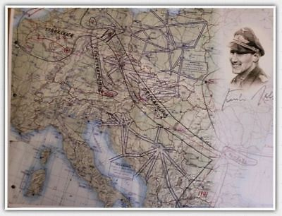 Gunther Rall Signed Map of Germany, WWII, Luftwaffe, Ace Pilot
