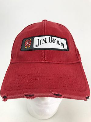 169aaf0ed63 Vintage Rare Red Jim Beam Whiskey Strapback Hat Cap Fast Free Shipping