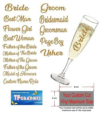 Personalised Champagne Flute Glasses and Vinyl - Wedding Bridal Party Glasses