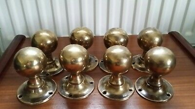 8 Reclaimed Brass Door Knobs Handles vintage  (4 pairs) 1910 /1920s