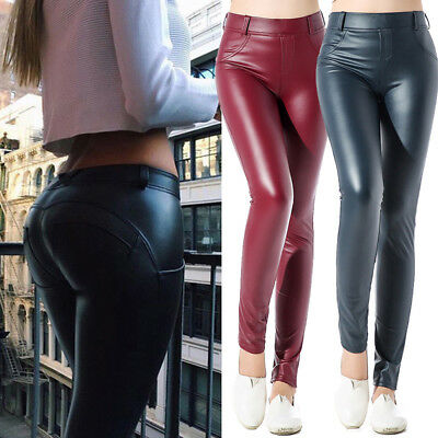 491f0e784a US Women's Sexy Leather Yoga Pants Hip Push Up Workout Stretch Leggings  Trouser