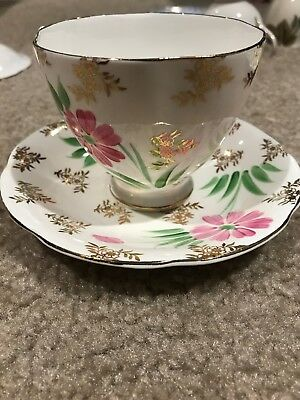 English Castle bone china teacup and saucer set, pink floral