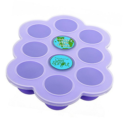 Silicone Baby Food Freezer Tray with Clip-on Lid by WeeSprout - Perfect Purple