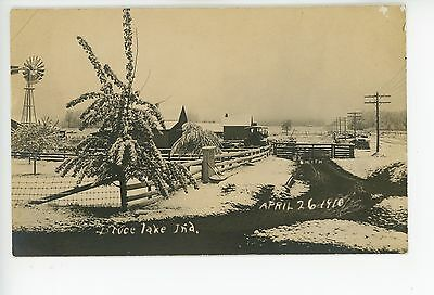 Bruce Lake IN Snow Farm Scene RPPC Antique Winter Windmill Photo Winamac 1910