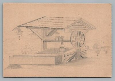 Water Well—Hand-Drawn Art Postcard ANTIQUE German Feldpostkarte 1910s