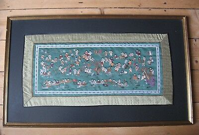 *large* Vintage Chinese Silkwork  Embroidery, 100 Children At Play, Gilt Frame