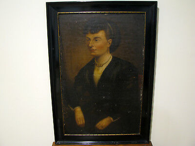 "Antique 19c OIL ON BOARD PORTRAIT PAINTING - WOMAN - FOR RESTORATION - 20"" X 31"""