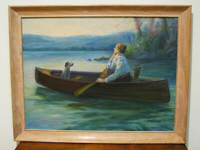 Vintage AMERICAN FOLK ART OIL PAINTING - WOMAN IN BOAT & DOG - SIGNED