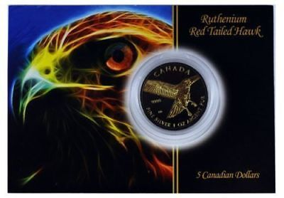 2015 1 Oz Ounce Gold Gilded Silver Red-Tailed Hawk Coin .9999 24K Ruthenium Coa