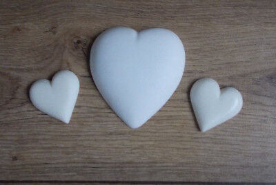 Three Hearts One Large Two small White Arts & Crafts Projects