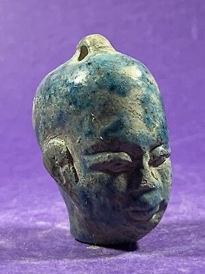 Beautiful Colours - Circa 1075-332Bc Ancient Egyptian Faience Head Stone Amulet