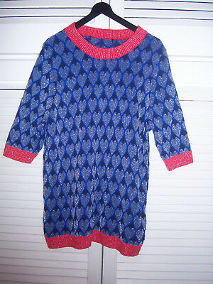 Unusual Next Short Sleeved Sparkly Jumper - Heart Print in Blue /Red /Silver 14