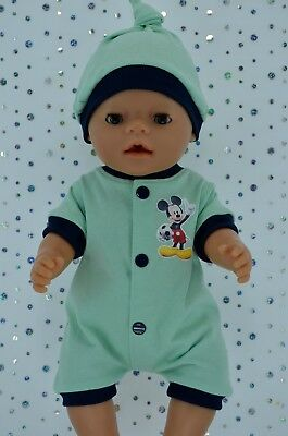 "Play n Wear Doll Clothes To Fit 17"" Baby Born MINT/NAVY ROMPER~HAT"