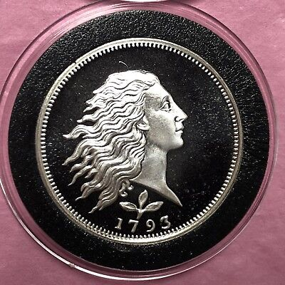 1793 Flowing Hair 1/2 Troy Oz .999 Fine Silver Round Coin Medal Medallion G.S.M.