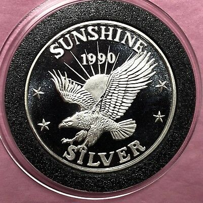 1990 Sunshine Mining 1/2 Troy Oz .999 Fine Silver Round Coin Medal Medallion 999