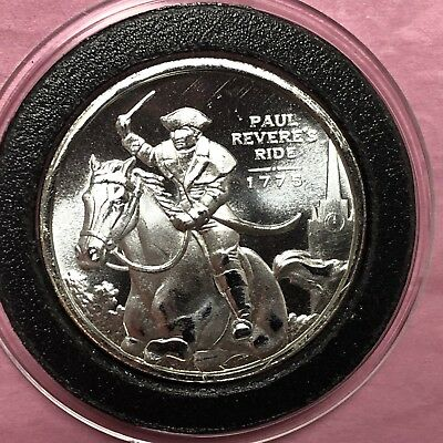 Paul Revere Ride 1775    1/2 Troy Oz .999 Fine Silver Round Coin Medal Medallion